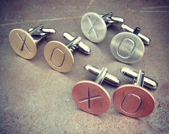 Valentines Day Cuff Links - X & O Stamped Cufflinks - Sterling Silver, Brass or Copper - Satin Finish - Vintage Rustic Boho Steampunk