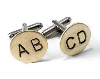 CUSTOM Monogram Letter Cuff Links - Personalized Cufflinks - Hand Stamped Brass, Any 2 LETTERS, Initials, WEDDING Cuff Links Groomsmen Groom