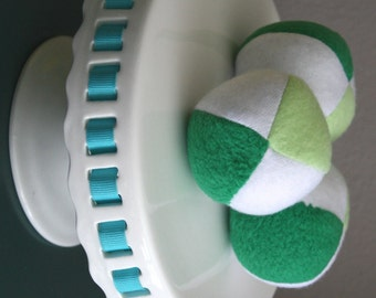 Green and White Fleece Squeaky Dog Ball toy small
