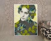Ivanna DIGITAL COLLAGE PRINT 4x5 inch retro, black & white portrait, blue green yellow florals