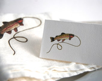Rainbow Trout, Place Card, Personalized Tented, Blank Seating Cards, Angler Party, Trout Illustration, Fish Theme Party, Trout Event
