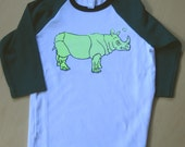 Florescent Yellow Rhino on White and Green Children's Baseball Jersey