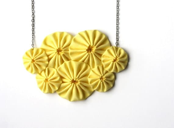 Bib necklace yellow necklace statement necklace fabric yoyo necklace