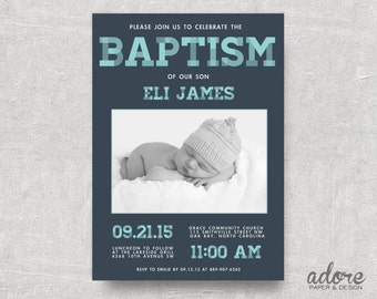 Aqua Blue & Slate Plaid // Printable Baptism Invitation