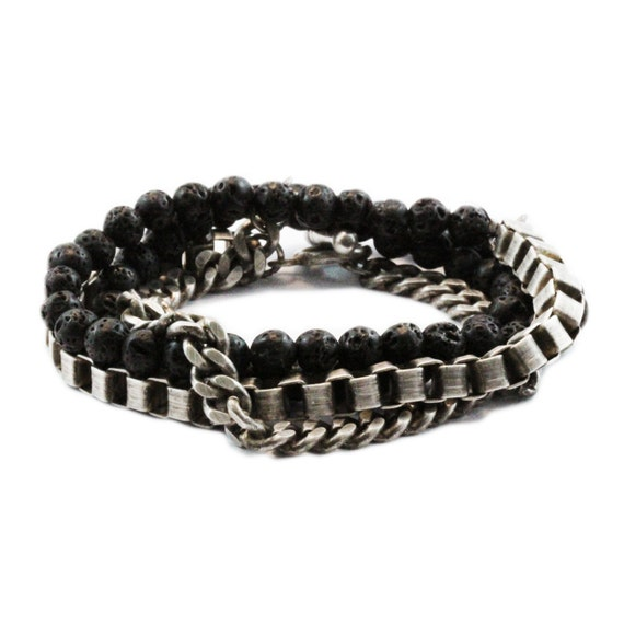 Silver Bracelet Mens Jewelry Stacking Wrap Chain Bracelets