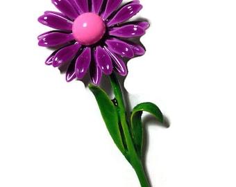 Purple Enamel Daisy Brooch