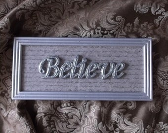 BELIEVE Wood Silver wall decor, Silver Glitter, bling, gray, Wall sign, home decor