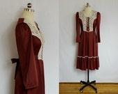 Vintage Cranberry lace bib boho dress