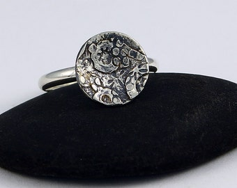 """Size 8 1/2 Ring Handcrafted Fused Sterling Silver Collage Design """"Flower Garden"""" Abstract One of a Kind Artisan Design 6901482642915"""