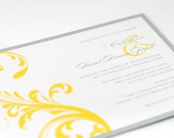 Gold Wedding Invitation, Elegant Scroll Invitation, Yellow and Gray