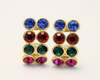 Vintage earrings. Multi colour crystal earrings.  Clip on earrings