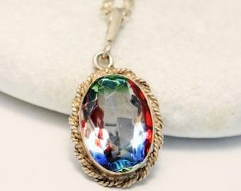 Rainbow iris glass pendant necklace. Sterling silver. VINTAGE