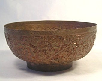 An Old Chinese Asian Repousse  Copper Teacup Bowl T1
