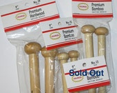 Colonial Knitting Needles 9 inch Size US 15 or 17 Bamboo or 19/8-15mm Hard Wood Straight, Warm, Smooth, 1 pair, Singe Point, Bulky Yarns
