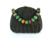 Vintage Clutch Woven Bag Wicker Purse Recycled Upcycled Redesigned Wooden Beads Chain Black Green Summer Purse Straw