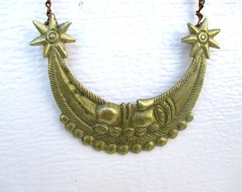 Vintage Necklace Brass Artisan Necklace Bib Moon Jewelry Boho Tribal Necklace Free People Style Beads Goldtone Hippie Long