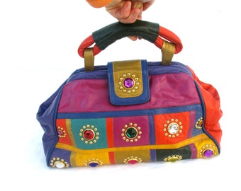 Vintage Purse Leather Bag 1980 Purse 80s Bag Colorful Designer Handbag Gems Rainbow Multicolor Gold Studs Eye Candy Studded Bag Rhinestones