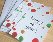Happy new year cards, happy dots, set of 5 - NEW