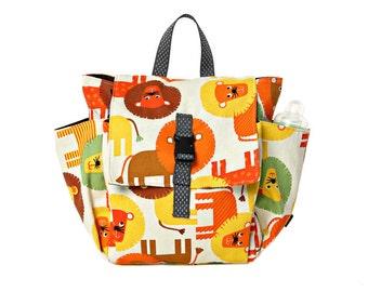 Cotton Children bag Kids day bag, diaper bag -Lily lion print