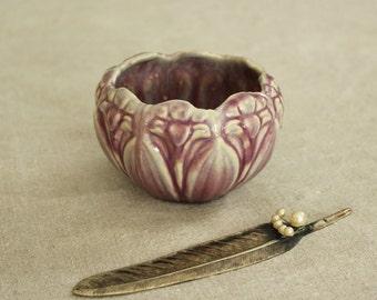Vintage Art Nouveau Pottery Vase with Irises