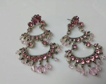 Avon Pink Waterfall Pierced earrings party wedding prom