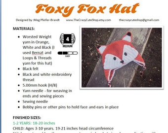 CROCHET PATTERN Foxy Fox Hat