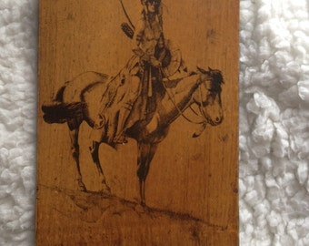 Sitting Bull Miniature Portrait Wood