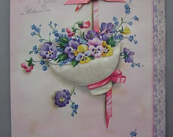 Vintage Mother's Day Rust Craft Greeting Card Large Size Pansy Flowers Artists Guild