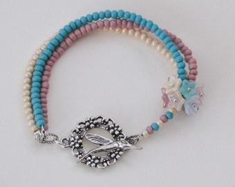 Pocketful of Posies Bracelet - antique cream rose turquoise flowers cluster spring hummingbird bracelet wedding prom