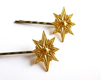 Gold Polaris Hair Pins Star Bobby Pins Star Hair Clips Star Accessories Northern North Star Pole Star Christmas Winter Womens Gift For Her