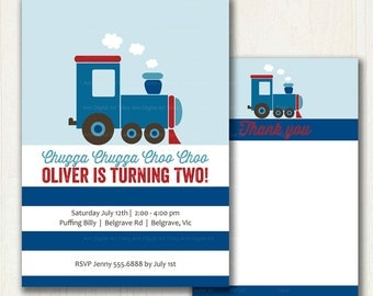 Train Birthday Invitation, Chugga Chugga Choo Choo Birthday Invite, Printable Digital, 1st, 2nd, 3rd, 4th, 5th Birthday 1089b
