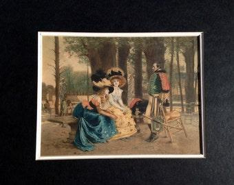 1800s Victorian Engraving in frame- La-cau-serie- Antique print