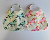 Baby Bibs - YOU CHOOSE - Metallic Gold Pretty Horses Teething Bibs / Baby Bib Gift / Babiease Baby Bibs Etsy