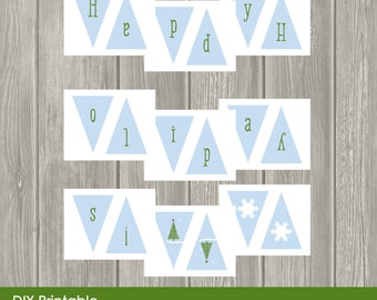 Items similar to DIY PRINTABLE Happy Holidays Banner ...