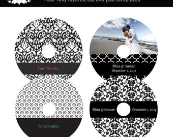 Black and White Damask Set of Four CD Labels Photography Template Photoshop INSTANT DOWNLOAD