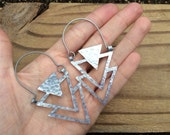 Metal Triangle hoop earrings, metalwork hoops, geometric jewelry, sculptural earrings