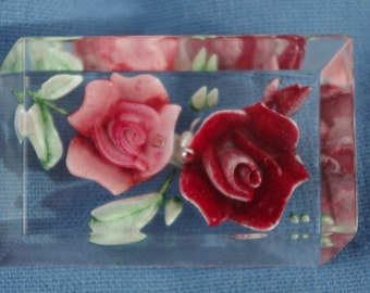 Vintage - Beautiful - Lucite Red and Pink Roses Brooch - c1950's