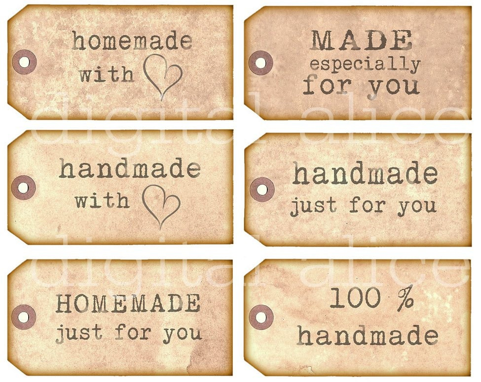 Homemade handmade tags product labels instant download for Home made product for sale