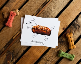 Dog Treats Notecard - Biscotti Dog (scottish terrier, dog notecards, dog stationery, blank interior for thank you, thinking of you, friend)