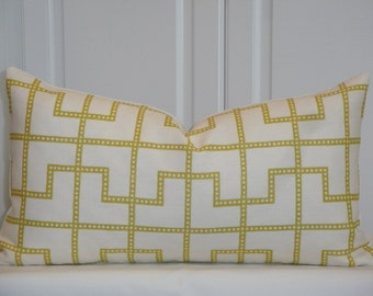 Schumacher Bleecker Absinthe - Decorative Pillow cover - Celerie Kemble - Geometric - Throw Pillow - Lumbar Pillow