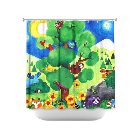 Kids shower curtain tree of wildlife animal themed by njoyart for Animal themed bathroom decor
