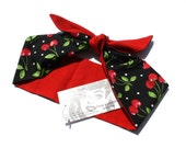 Vintage Inspired Headscarf, Headwrap, Red with Retro Cherries, Rockabilly