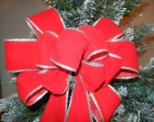 Red Velvet bow  with Silver edging Winter Wedding, Christmas decorative bow, wreath bow, staircase bow lampost bow