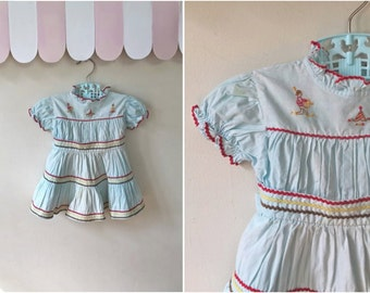 vintage 1950s toddler dress - TIPI embroidery ric rac patio dress / 2-3T