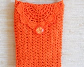 Orange crochet wallet purse small bag with long strap feminine accessory travel bag for cell phone medicine eye glasses