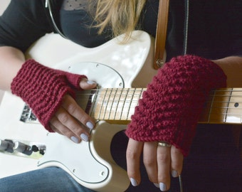 Marsala fingerless gloves gift for musician wine red wool knitted lace pulse warmers crimson womens arm warmers
