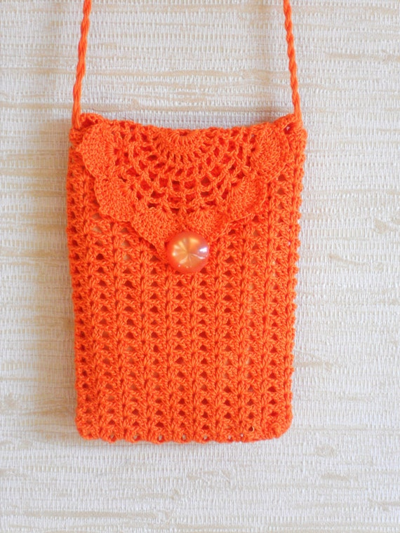 Crochet Small Purse : Orange crochet wallet purse small bag with long strap feminine ...