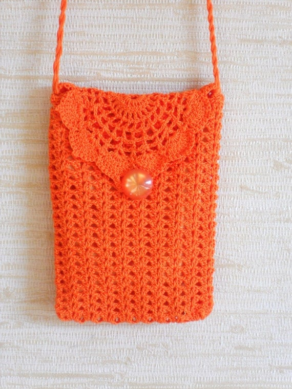 Crochet Small Bag : Orange crochet wallet purse small bag with long strap feminine ...