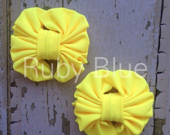 Yellow Piggy Tail Clips - Mini Messy Bow Clips