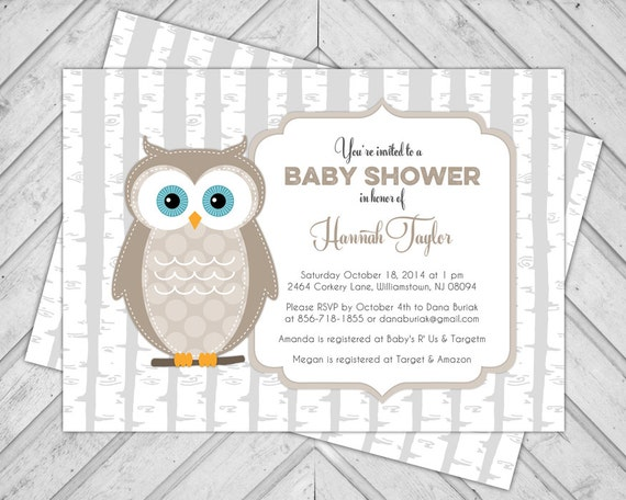Woodland creatures baby shower invitation  gender neutral invite